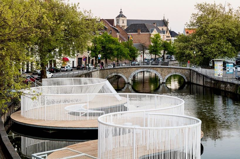 TRIENNALE BRUGGE, Liquid City Obba, The floating Island Opbouw touwen door Helix bvba